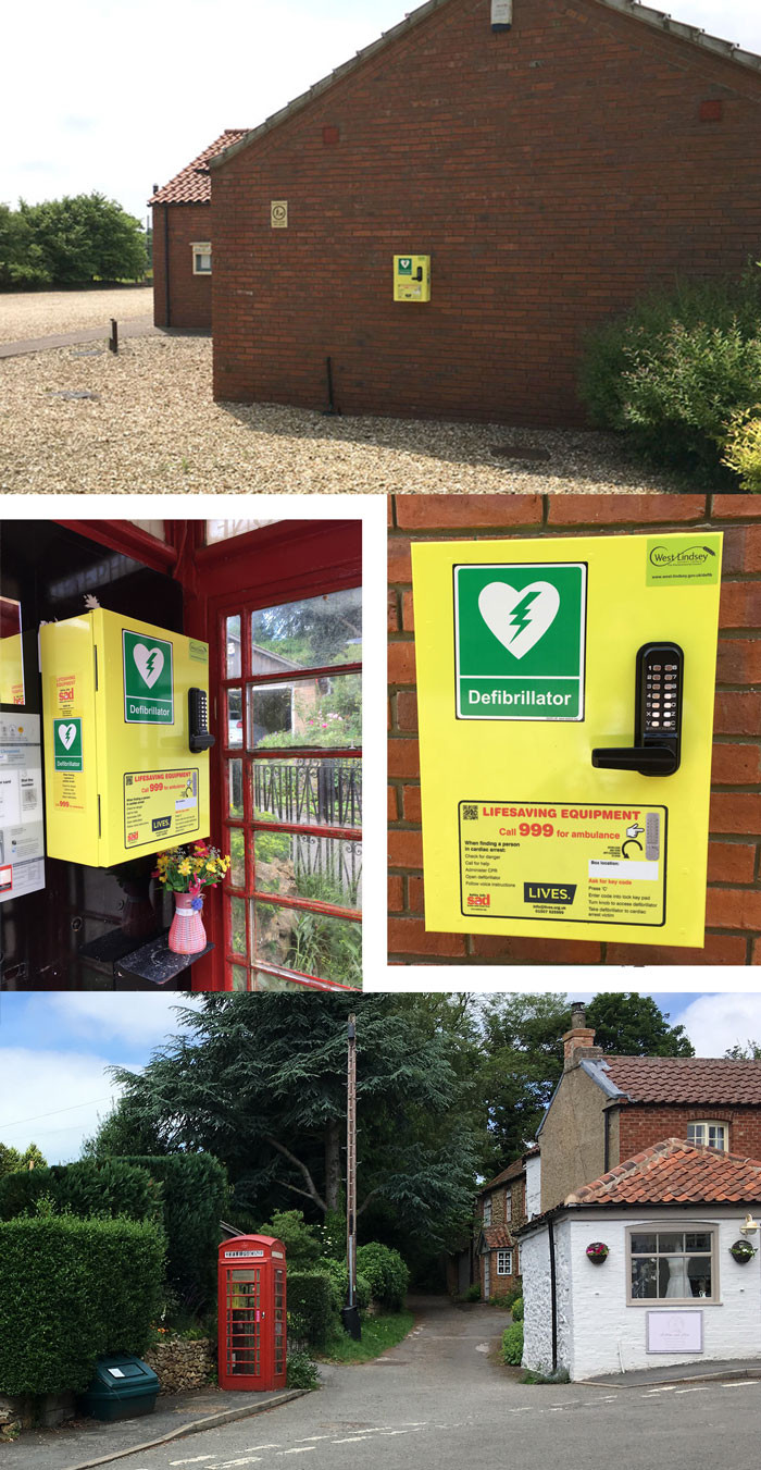 The locations of the defibrillator cabinets - Tealby Tennis & Bowls Club and the phone box on Front Street.