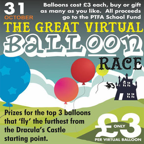 Virtual Balloon Race, 31st October - Tealby School