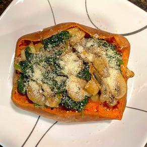 Spinach Mushroom Sweet Potatoes