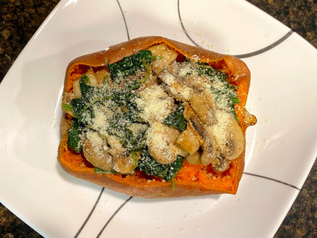 Spinach Mushroom Sweet Potatoes
