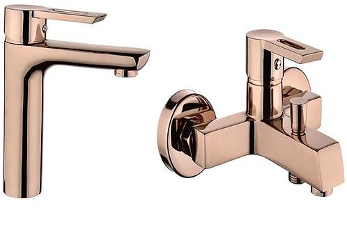 Vilas Defne Kare Gold Mix Duş Banyo Bataryası ve Lavabo bataryası