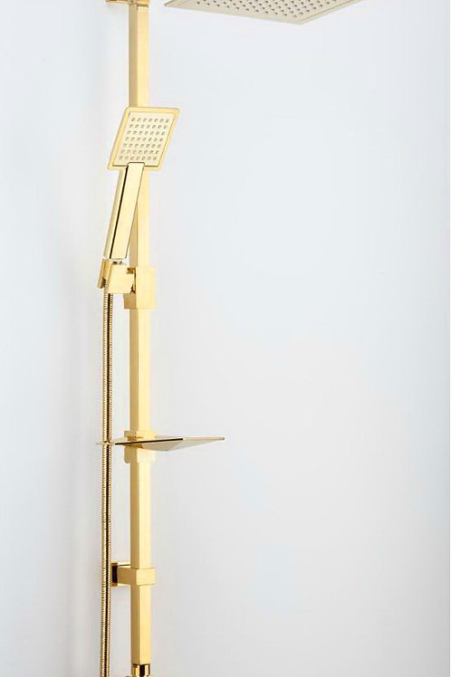 Vilas Euphoria Kare Gold Robot Yağmurlama Tepe Duş Seti