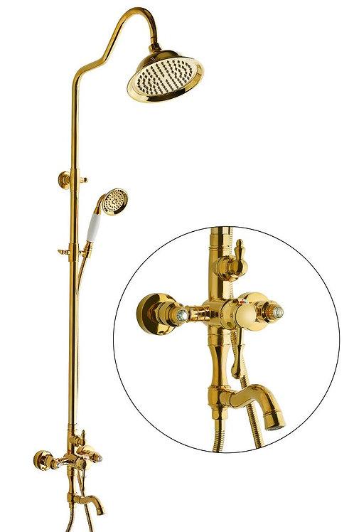 Vilas Diamond Classic Gold Yağmurlama Banyo Bataryalı Duş Seti