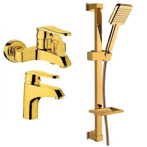 Vilas Elmas Gold Banyo & Lavabo Bataryası Ve Gold Duş Seti