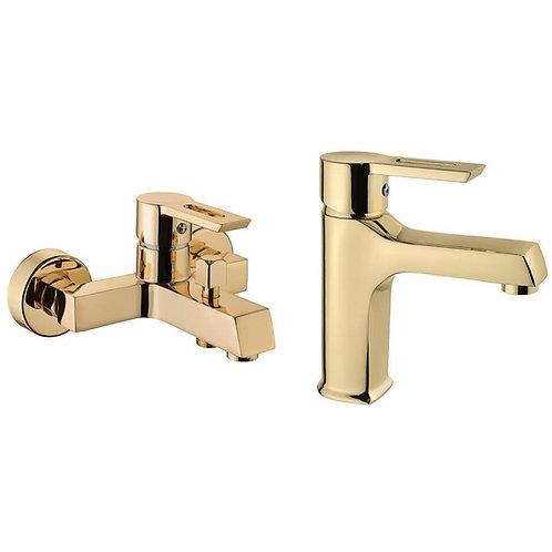 Vilas Defne Kare Gold Mix Duş Banyo Bataryası+Lavabo bataryası