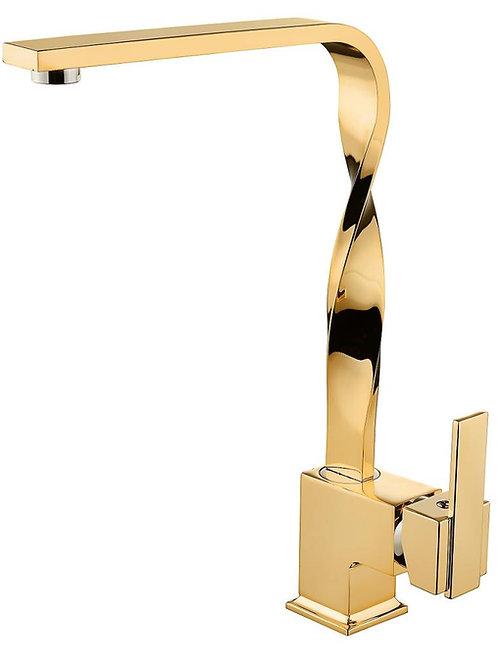 Vilas Dallas Premium Gold Kare Kıvrımlı Boru Evye Mutfak Bataryası
