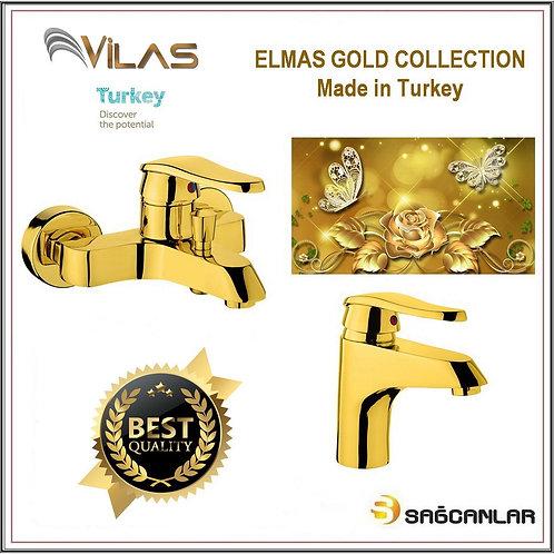 Vilas Elmas Gold Banyo Bataryası Ve Lavabo Bataryası Seti