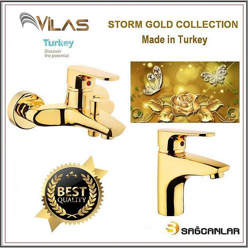 Vilas Storm Gold Banyo Bataryası Ve Lavabo Bataryası Seti