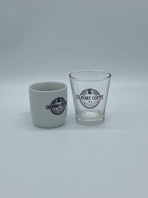 Espresso Tasse mit Glas