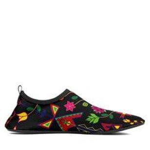 Geometric Floral Spring Black Sockamoccs Slip On Shoes