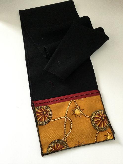 Wool Scarf- black/ gold/ red trim