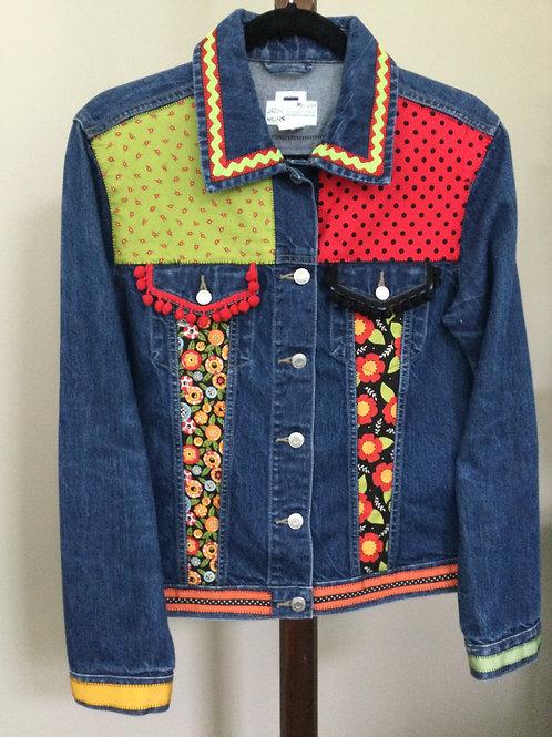 Jeans Jacket- flower theme- M
