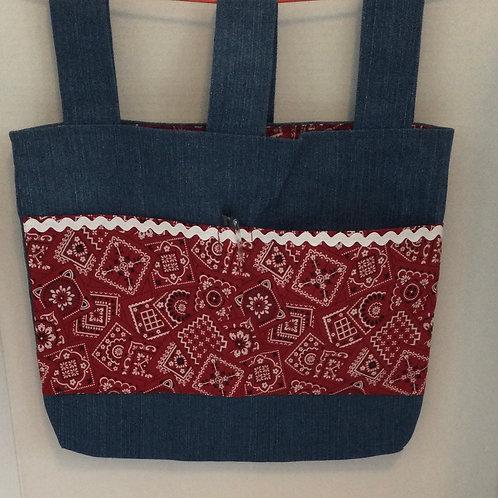Walker Bag/ Tote- red handkerchief theme