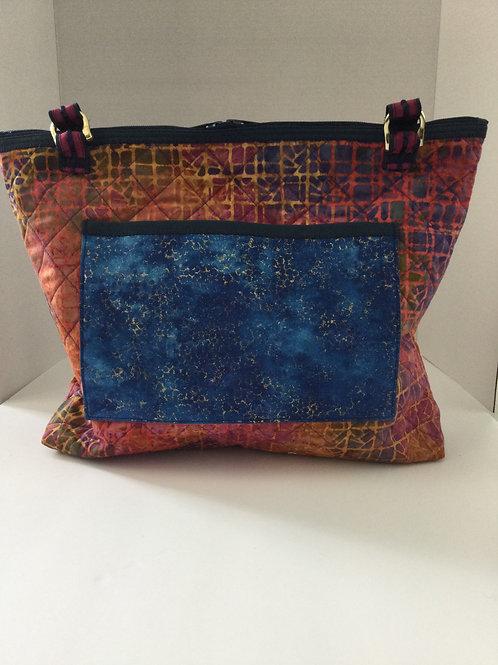 Medium Shoulder Bag- red, blue batik