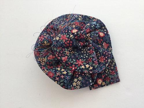 Lapel Pin- Navy w/ pinks, blue, beige flowers