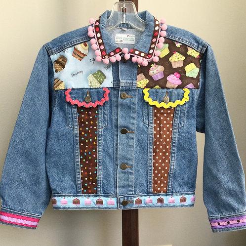 Jeans Jacket- cupcake theme- Medium