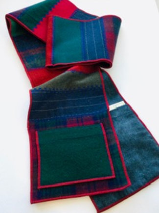 Scarf w/ pockets- forest, red, navy