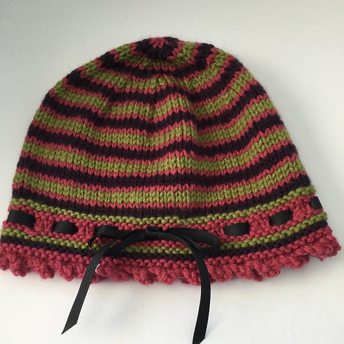 Hand Knit Hat- rust, green, black stripe