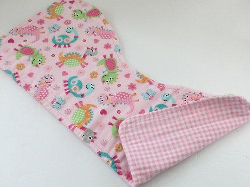 Reversible Burp Pad- pink dinasaur theme