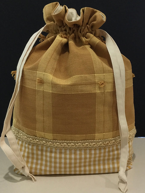 Draw String Tote/ Project Bag- gold, creme