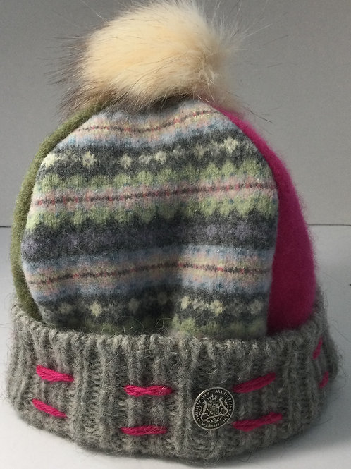 Sweater Hat-periwinkle, hot pink, sage