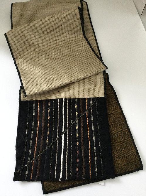 Wool Scarf- Beige/ black