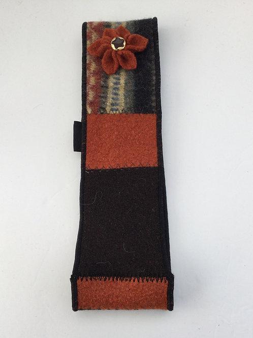 Ear warmer- w/ flower - rust, brown, straw