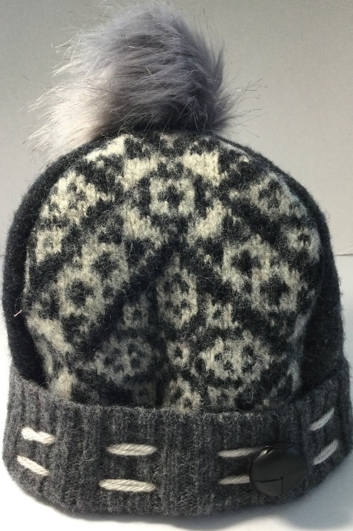 Sweater Hat- shades of gray