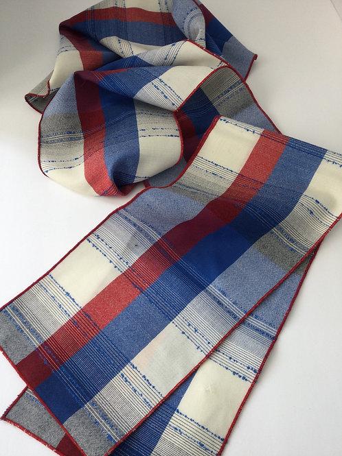 Wool Scarf-red/ creme/ blue
