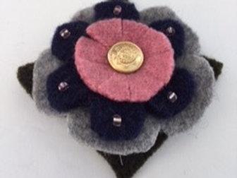 Lapel pin- pink, gray, navy