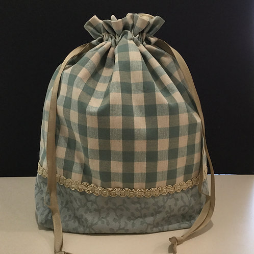 Drawstring Project Tote- teal, light taupe