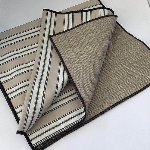 Reversible Table Runner- tan, creme, black stripe w/ shaded browns