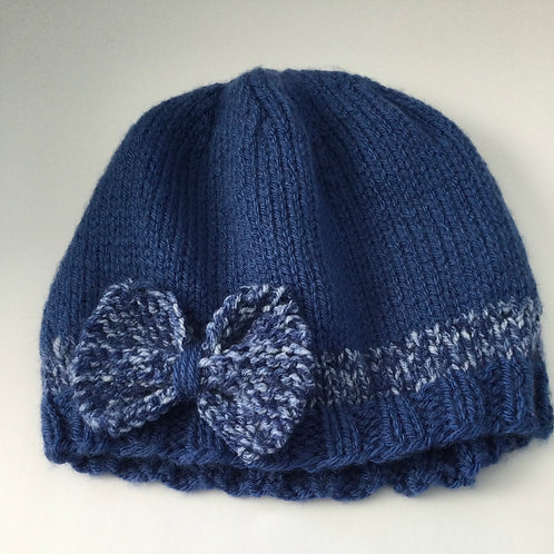 Child's Hat- blue w/ bow