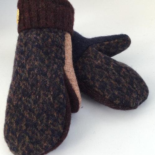 * Sweater Mittens- navy, brown, beige- (Ptec 300)