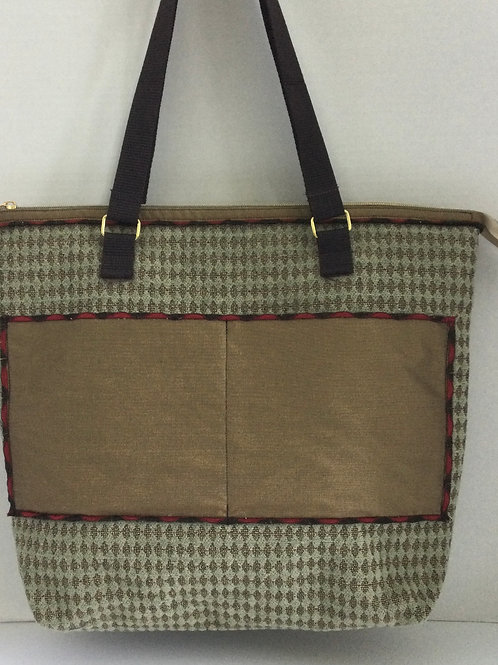 Large Tote/ Project Bag- teal cut velvet; brushed gold