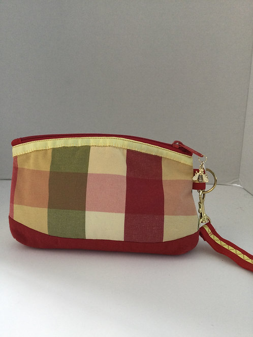 Small Wristlet- red, yellow, green plaid