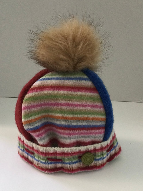 Sweater Hat- pink, blue stripes