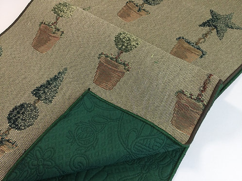 Reversible Table Runner- topiary- forest green & taupe
