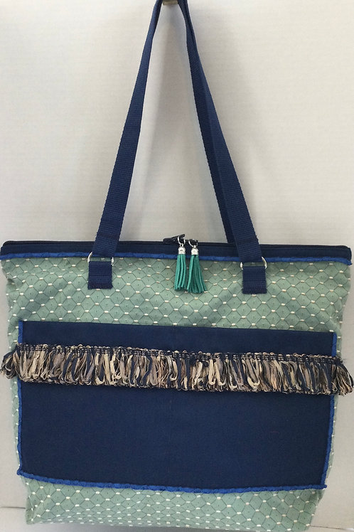 Large Tote/ Project Bag- teal, navy