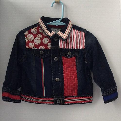 Jeans Jacket- baseball theme- 24 mo