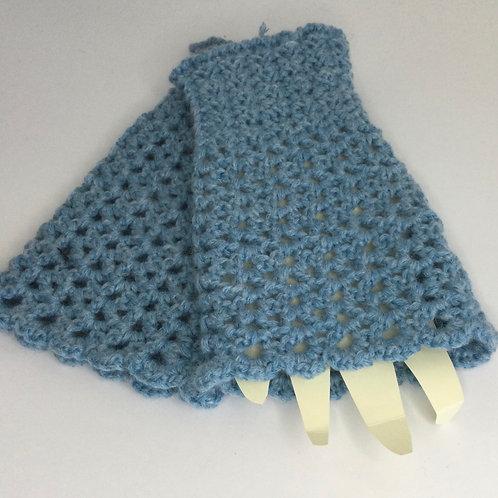 Fingerless Mitts- blue