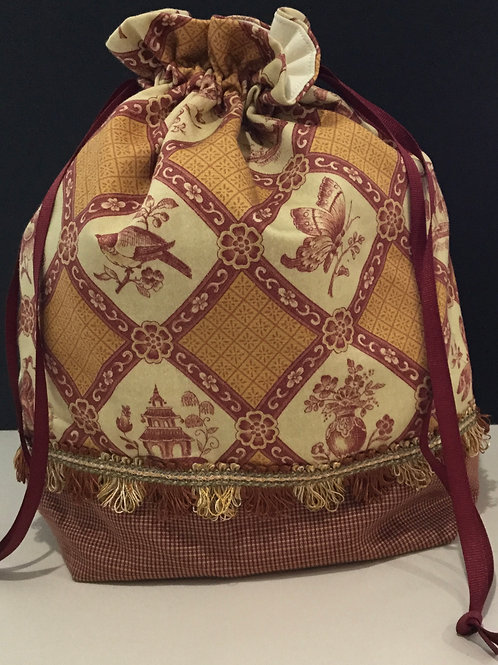 Draw String Tote/ Project Bag- red, gold, creme