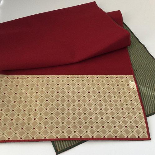 Reversible Table Runner- dark red, gold border w/ sage