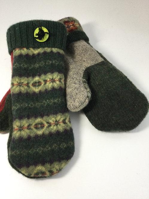 Sweater Mittens- dark & light sage, rust, taupe