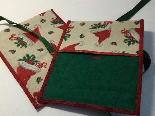 Gift Card Holder- Santa hat w/ green