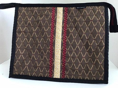 Large Wristlet/ Project Bag- Black, burgundy, gold