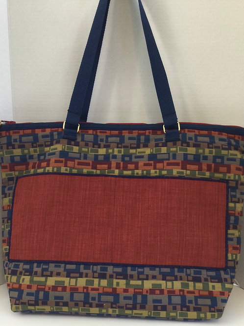 XL Tote/ Project Bag- red, blue, sage rectangles theme
