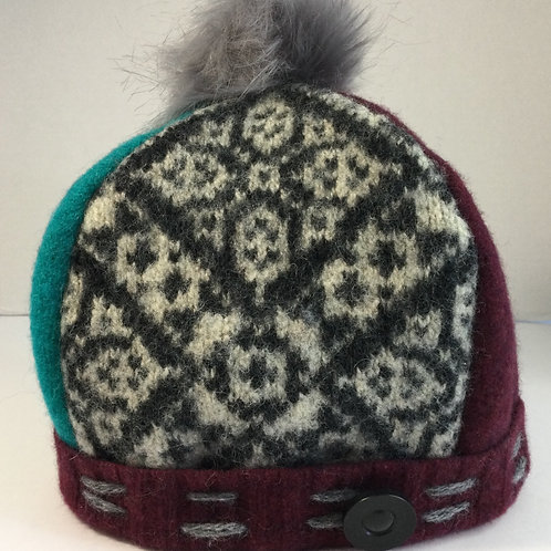 Sweater Hat- gray, teal, burgundy