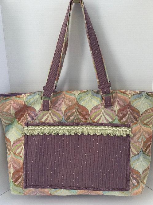 XL Tote Bag- tapestry design- sage, purple