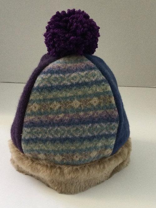 Child's Wool Hat- lavenders, faux fur